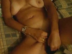 MILF with Great Tits Plays with her Pussy