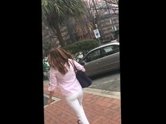 Candid - Big ass in white jeans strutting her stuff