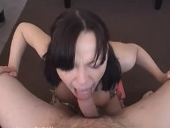 Big tit brunette in pigtails deepthroats a long cock