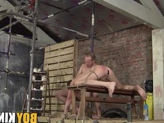 BDSM twink drilled rough in his tigh asshole and throat