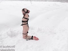 Naked an barefoot Vika tied up in the snow. Part 2