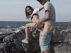 Asian GF Sucking Cock & Fucked Outside By The Ocean