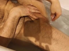Shaving cock and balls in the bathroom