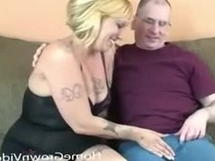 Big tit blonde sucks first dick on camera