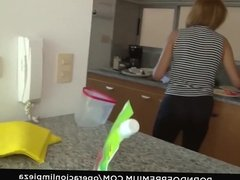 OPERACION LIMPIEZA - Petite latina maid filmed by her boss