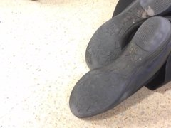Shoe Fetish - Ultra Close-Up of Shopworker's Dirty Shoes