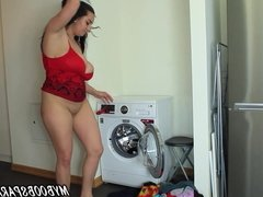 Helen Star washing dresses and play with Ice Cream and Dildo