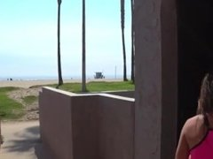 Asian tourist skates around beach flashing then orgasms on public stairs!!