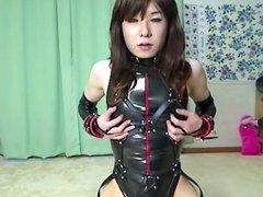 Japanese PVC slave masturbation 1