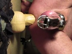 Prostate Milking in Chastity with Huge Dildo