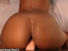Black Booty Babe With Big Boobs Masturbate on oiled Dildo Toy