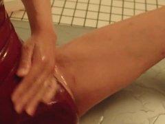 japanese crossdresser Lotion play in swimsuit6 short ver