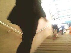 Sexy girl upskirt on ladder 17 ultra miniskirt, black panty
