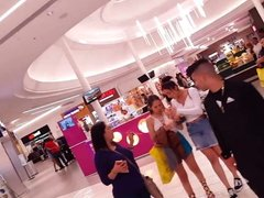 Candid voyeur hot latina teen blue shorts mall shopping