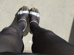 More Outdoor in Black Pantyhose and High Heels