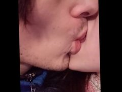 Russian Girl with Very Long Tongue Licks & Kisses her BF