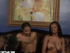 Busty ebony whore begging for BBC cum and getting it