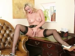 Busty blonde Penny Lee strips down to sexy lingerie sheer vintage nylons