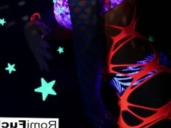 Romi plays with a disco ball before stuffing toying her pussy