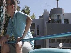 Sensual shemale Natalie Mars seduces the big dick pool guy