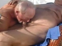 Old man sucking another old mature man