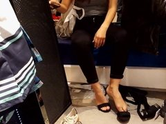 Fr's shoe shopping her sexy feets soles toes