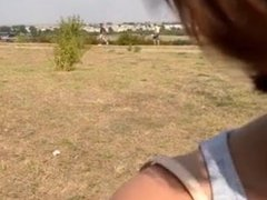 Brunette loves to ride and suck dick outdoor