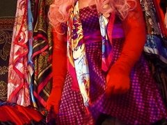 Shiny Satin Sissy Wearing Polka Dot Dress