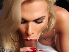Blonde shemale with large tits tugs and sucks a huge cock