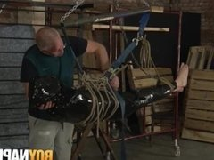 Wrapped up sub twink gets a messy jerkoff from old perv
