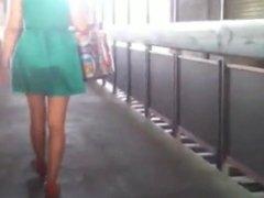 Voyeur street hot chick in green dress
