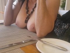 boobs out in restaurant
