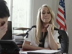 MILF Teacher Brandi Love Licked by Lez Student in Office