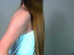 Super Sexy Long Haired Teen Striptease, Hair Brushing