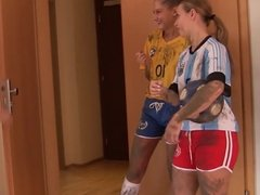 Super hot threesome after soccer training with 2 horny teens