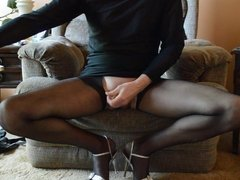 Leg Show in Black Pantyhose with Cum Squirt