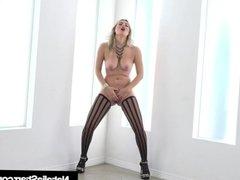 Natalia Starr Finger Bangs Herself In Stockings & Heels!