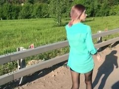Public throat blowjob in the forest from a cute teen - Freya Stein