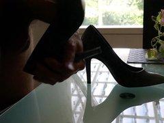 Cum in wifes black and grey stiletto high heel