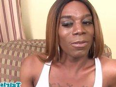 Mature black tranny strokes her hugedick