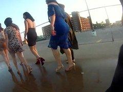 Big ass in a skirt river walk