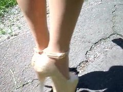 Walk in high heels 20 cm, legs in body pantyhose