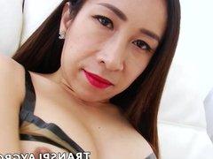 Stunning Asian tranny fucks fleshlight with her huge dick