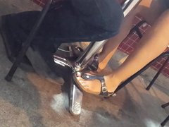 girl hot legs sexy long feets toes under table