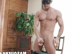 Masked muscular hunk loves to jerk off his huge cock on chai