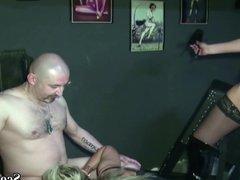Two German MILFs Femdom Boy and Seduce him to Fuck in Latex
