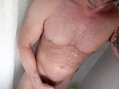 Sexy gay with boner taking shower
