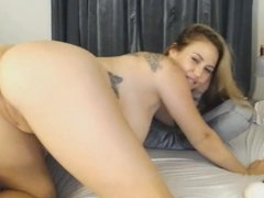 Huge Tits Blonde in an Intense Masturbation Show