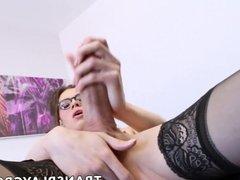 Bigdick trans strokes her big beautiful cock slow and hard