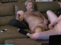 Naughty Wyatt Blaze gets cock sucked by old daddy JS Wild